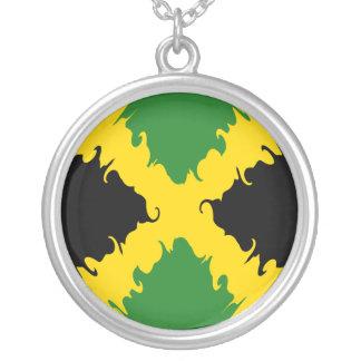 Bandeira Gnarly de Jamaica Colar Com Pendente Redondo