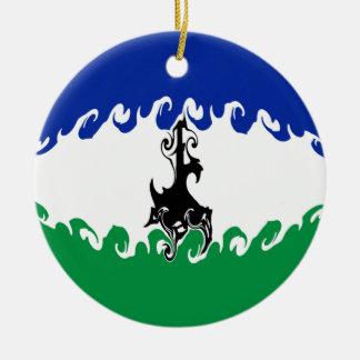 Bandeira Gnarly de Lesotho Ornamento De Cerâmica Redondo