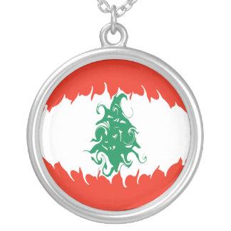 Bandeira Gnarly de Líbano Colar Com Pendente Redondo
