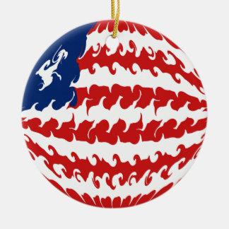 Bandeira Gnarly de Liberia Ornamento De Cerâmica Redondo