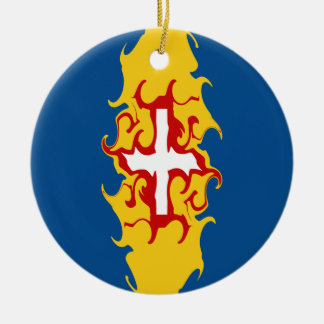 Bandeira Gnarly de Madeira Ornamento De Cerâmica Redondo