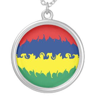 Bandeira Gnarly de Maurícia Colar Com Pendente Redondo