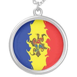 Bandeira Gnarly de Moldova Colar Com Pendente Redondo