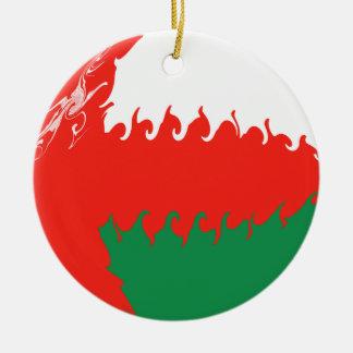Bandeira Gnarly de Oman Ornamento De Cerâmica Redondo