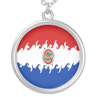 Bandeira Gnarly de Paraguai Colar Com Pendente Redondo