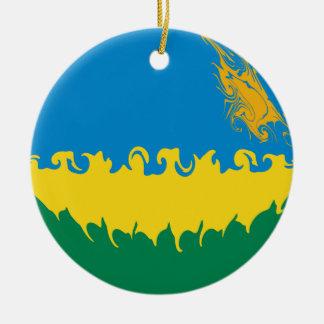Bandeira Gnarly de Rwanda Ornamento De Cerâmica Redondo