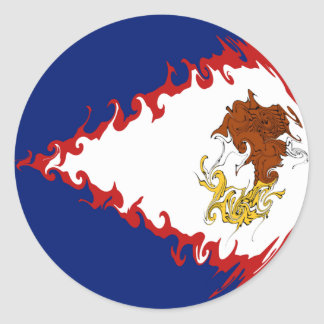 Bandeira Gnarly de Samoa Americanas Adesivos Em Formato Redondos