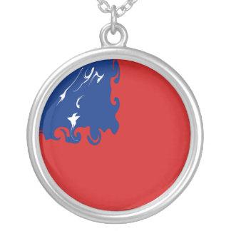Bandeira Gnarly de Samoa Colar Com Pendente Redondo