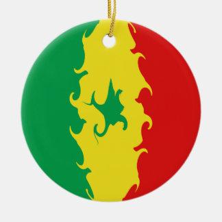 Bandeira Gnarly de Senegal Ornamento De Cerâmica Redondo