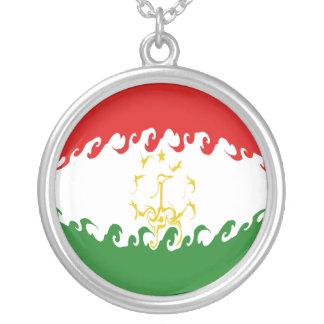 Bandeira Gnarly de Tajikistan Colar Com Pendente Redondo