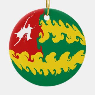 Bandeira Gnarly de Togo Ornamento De Cerâmica Redondo