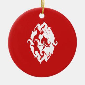 Bandeira Gnarly de Tunísia Ornamento De Cerâmica Redondo