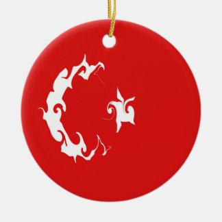 Bandeira Gnarly de Turquia Ornamento De Cerâmica Redondo