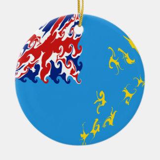 Bandeira Gnarly de Tuvalu Ornamento De Cerâmica Redondo