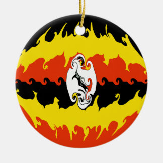 Bandeira Gnarly de Uganda Ornamento De Cerâmica Redondo
