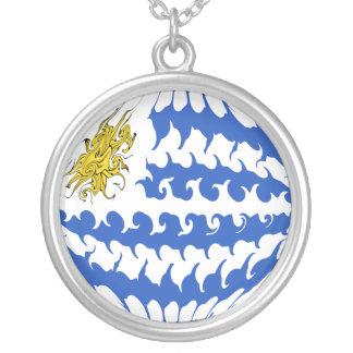 Bandeira Gnarly de Uruguai Colar Com Pendente Redondo
