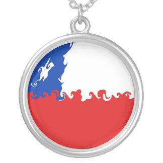 Bandeira Gnarly do Chile Colar Com Pendente Redondo