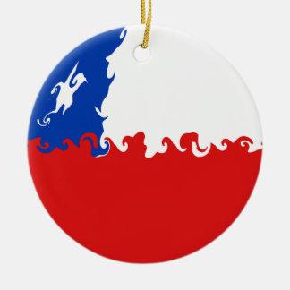 Bandeira Gnarly do Chile Ornamento De Cerâmica Redondo
