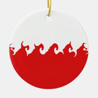 Bandeira Gnarly do Polônia Ornamento De Cerâmica Redondo
