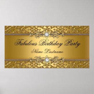 Bandeira gravada do aniversário do ouro damasco el pôster