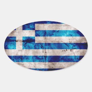 Bandeira grega adesivos em formato oval