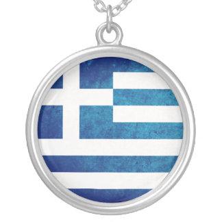 Bandeira grega colar com pendente redondo