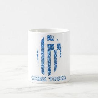 Bandeira grega da impressão digital do toque caneca de café
