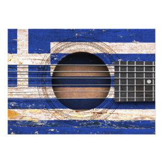 Bandeira grega na guitarra acústica velha convite personalizados