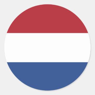 Bandeira holandesa adesivo redondo