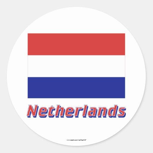 Bandeira holandesa com nome adesivo em formato redondo