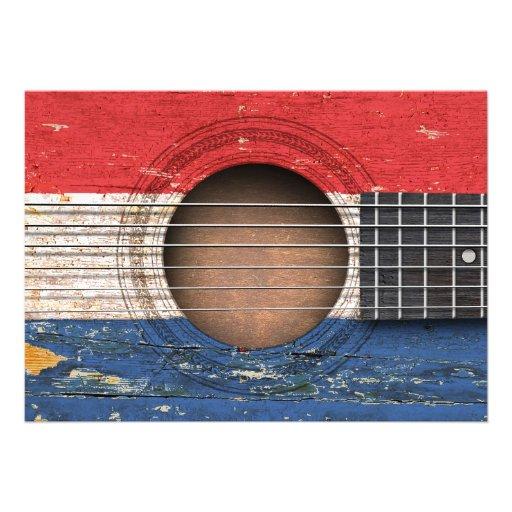 Bandeira holandesa na guitarra acústica velha convites personalizado