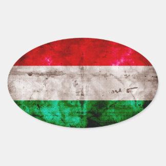 Bandeira húngara adesivo oval