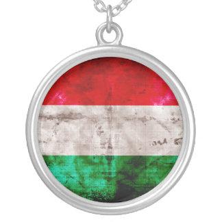 Bandeira húngara colar com pendente redondo