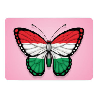 Bandeira húngara da borboleta no rosa convites personalizados