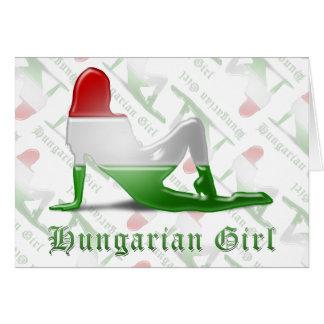 Bandeira húngara da silhueta da menina cartoes