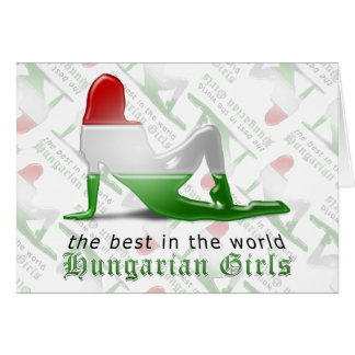 Bandeira húngara da silhueta da menina cartao
