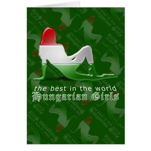 Bandeira húngara da silhueta da menina cartões