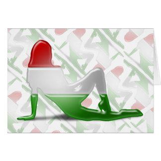 Bandeira húngara da silhueta da menina cartão comemorativo