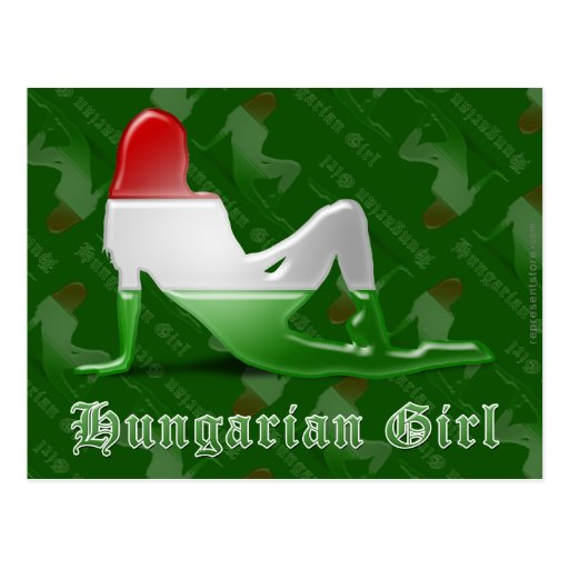 Bandeira húngara da silhueta da menina cartoes postais
