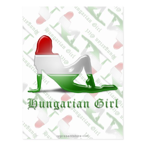 Bandeira húngara da silhueta da menina cartao postal
