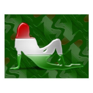 Bandeira húngara da silhueta da menina cartão postal