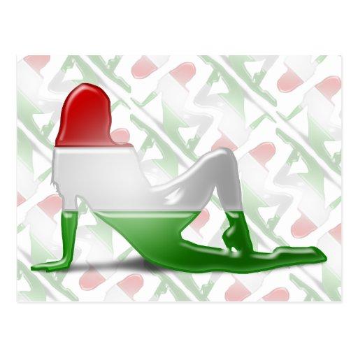 Bandeira húngara da silhueta da menina cartões postais