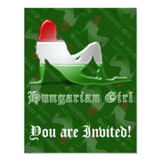 Bandeira húngara da silhueta da menina convites personalizado