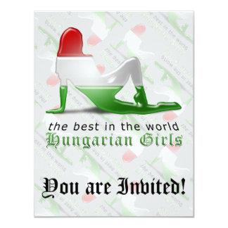Bandeira húngara da silhueta da menina convite 10.79 x 13.97cm