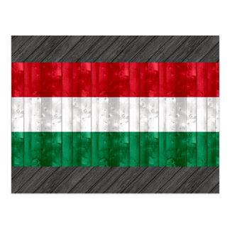 Bandeira húngara de madeira cartão postal