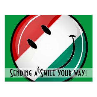 Bandeira húngara de sorriso cartão postal