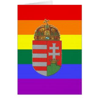 Bandeira húngara do orgulho de GLBT Cartão Comemorativo