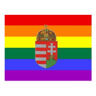 Bandeira húngara do orgulho de GLBT Cartão Postal