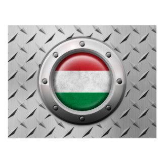 Bandeira húngara industrial com gráfico de aço cartao postal