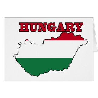 Bandeira húngara no mapa cartoes